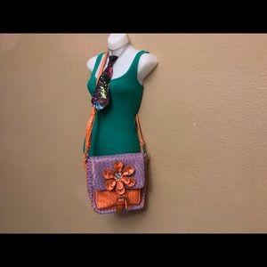 Unbranded Faux Ostrich Orange and Lavender Bag